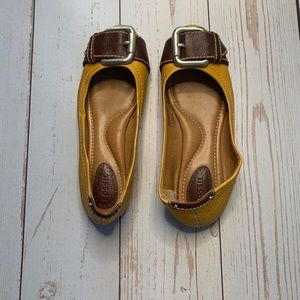Maddox Ballet Flats in Mustard & Brown